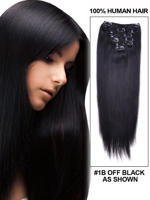 15in 7 Piece Silky Straight Clip In Human Hair Extension Peinados