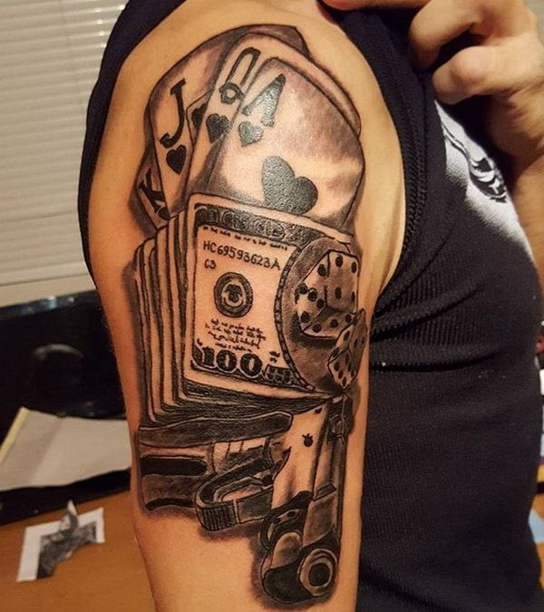 gun money and cards tattoo design 2018 2019 tattoo designs 2018 men and women pinterest. Black Bedroom Furniture Sets. Home Design Ideas