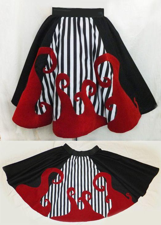 nightmare before christmas skirt, gothic, stripes. http://www.emeraldangel.co.uk/nightmare-before-christmas-skirt.html £65