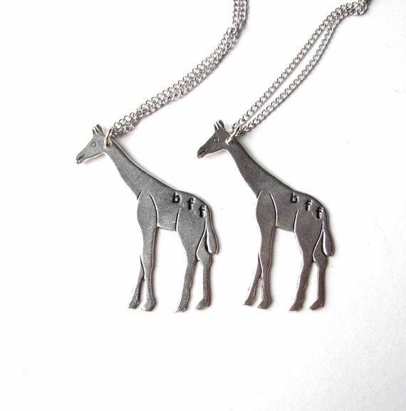 giraffe bff necklace set  {best friends jewelry by friendlygesture on etsy}