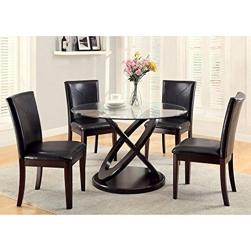 Furniture of America Ollivander 5-Piece Glass Top Dining Table Set