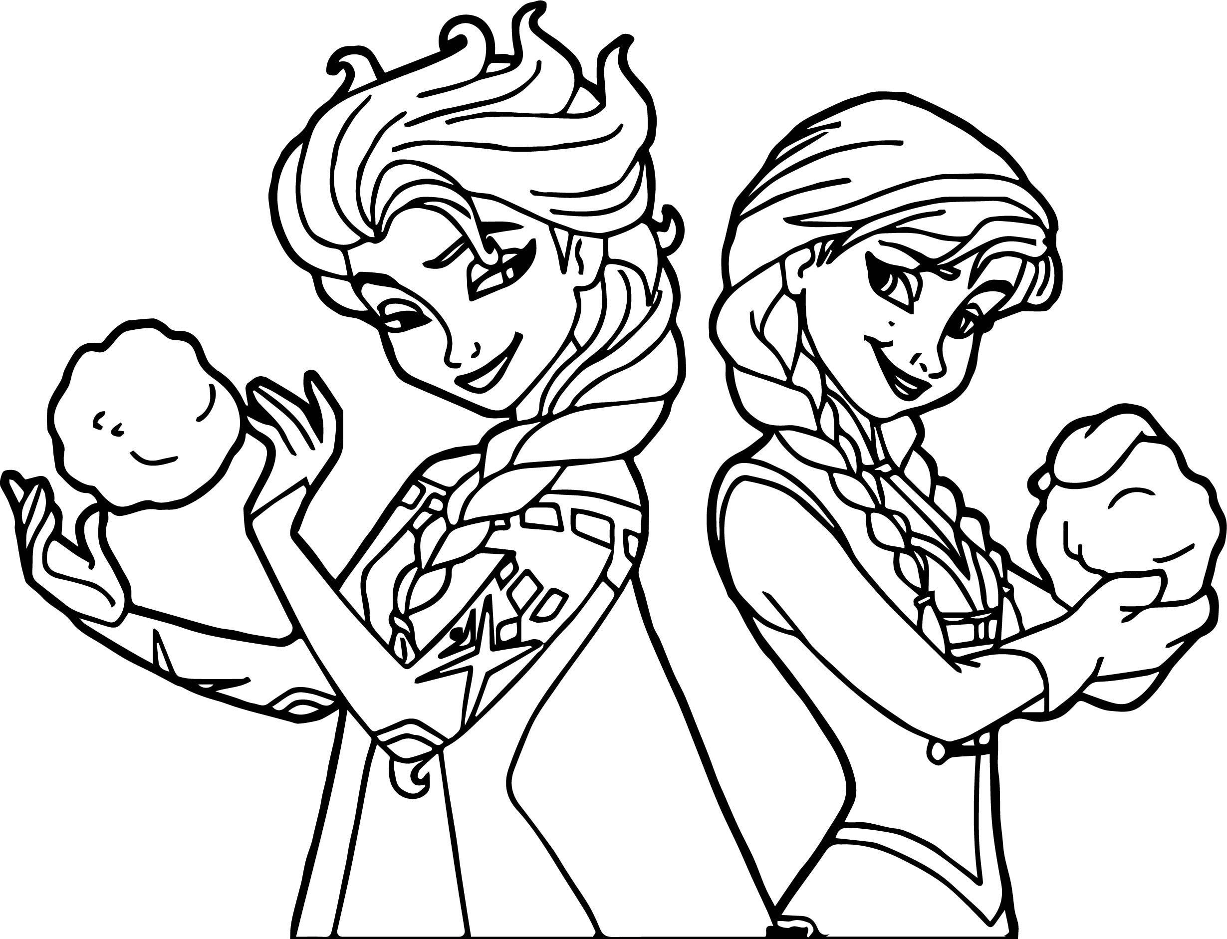 Cool Elsa Anna Snowballs Coloring Page Elsa Coloring Pages