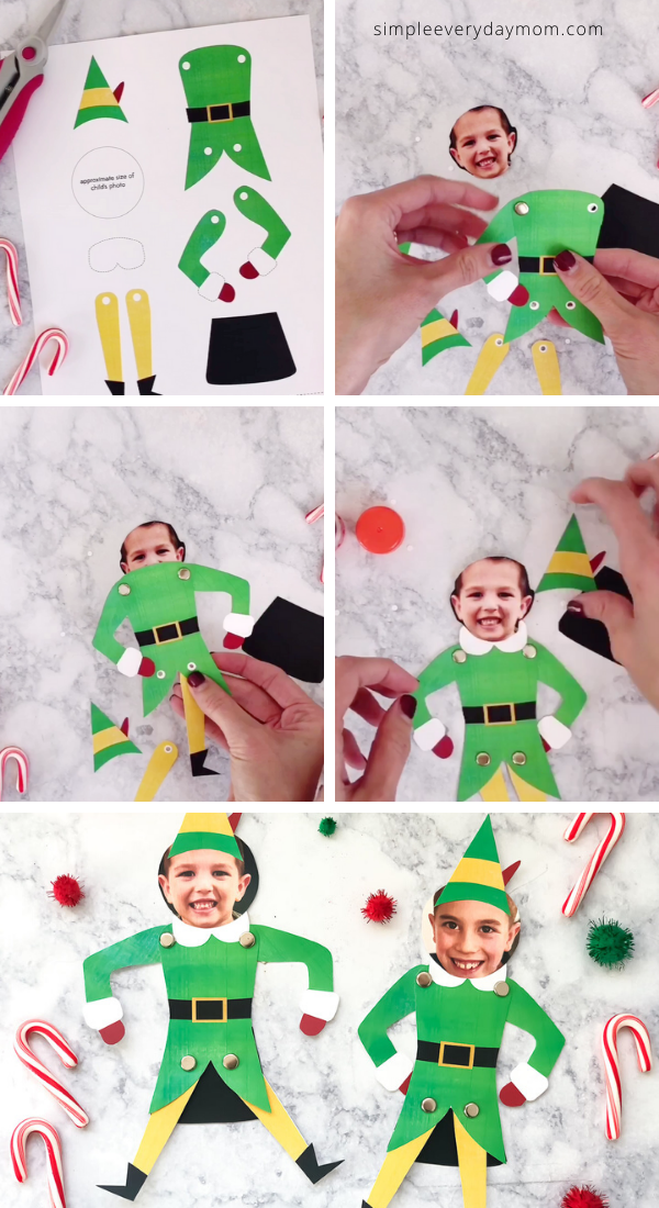 This elf photo puppet is a fun Christmas craft for kids of all ages! Everyone will love turning themselves into Buddy the Elf with our free printable template. Click to download your copy.  #simpleeverydaymom #elfcrafts #christmascrafts #christmascraftsforkids #kidscrafts #craftsforkids #xmas #xmascrafts