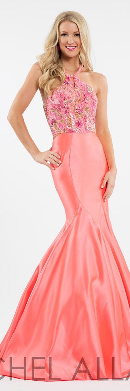Rachel allan matte satin coral mermaidstyle funnel skirt w