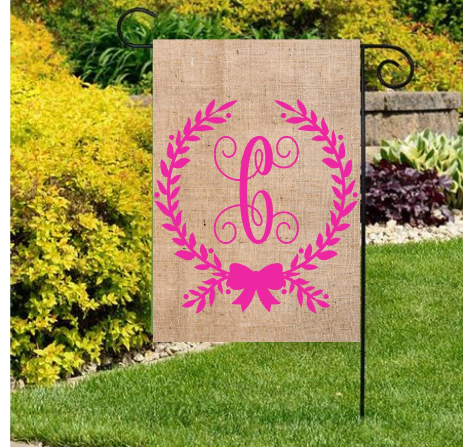 Initial Flags Wreath Initial Flag Spring Garden Flags Monogram