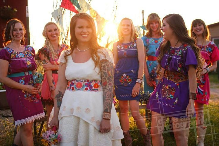 More colorful, even the bride with her colorful belt