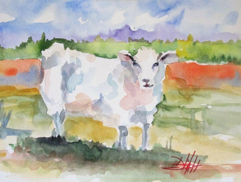 Sheep Lamb Farm Animal Watercolor Painting Art Spring Irish