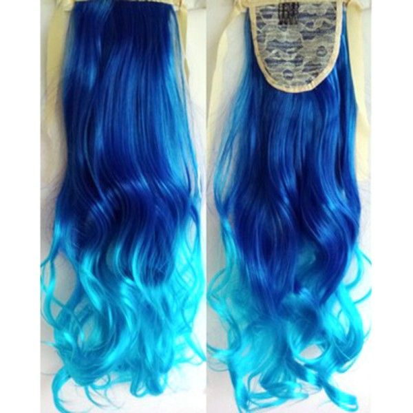 Lady Ombre Color Long Ponytails Curlers Synthetic Clip Wavy Curly