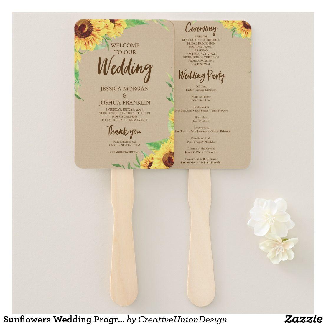 Sunflowers wedding program fan outdoor wedding ideas pinterest
