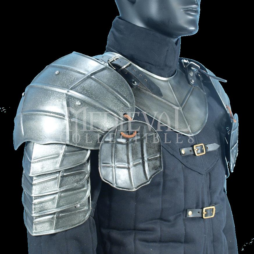 Reproduction Pair of Warrior Steel Armor Pauldrons /& Gorget Medieval Shoulder