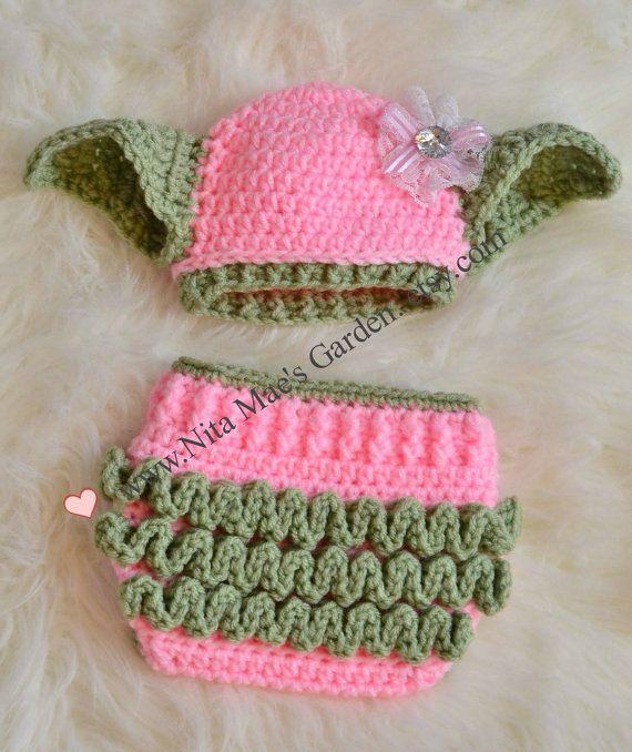 Yoda Hat Star Wars Hat & Diaper Cover SET Newborn 0 3m 6m Girls ...