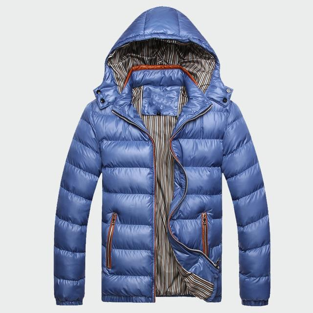 Warm Thick Padded Casual Hooded Parkas  Jacket and Coat – Blue / 6XL