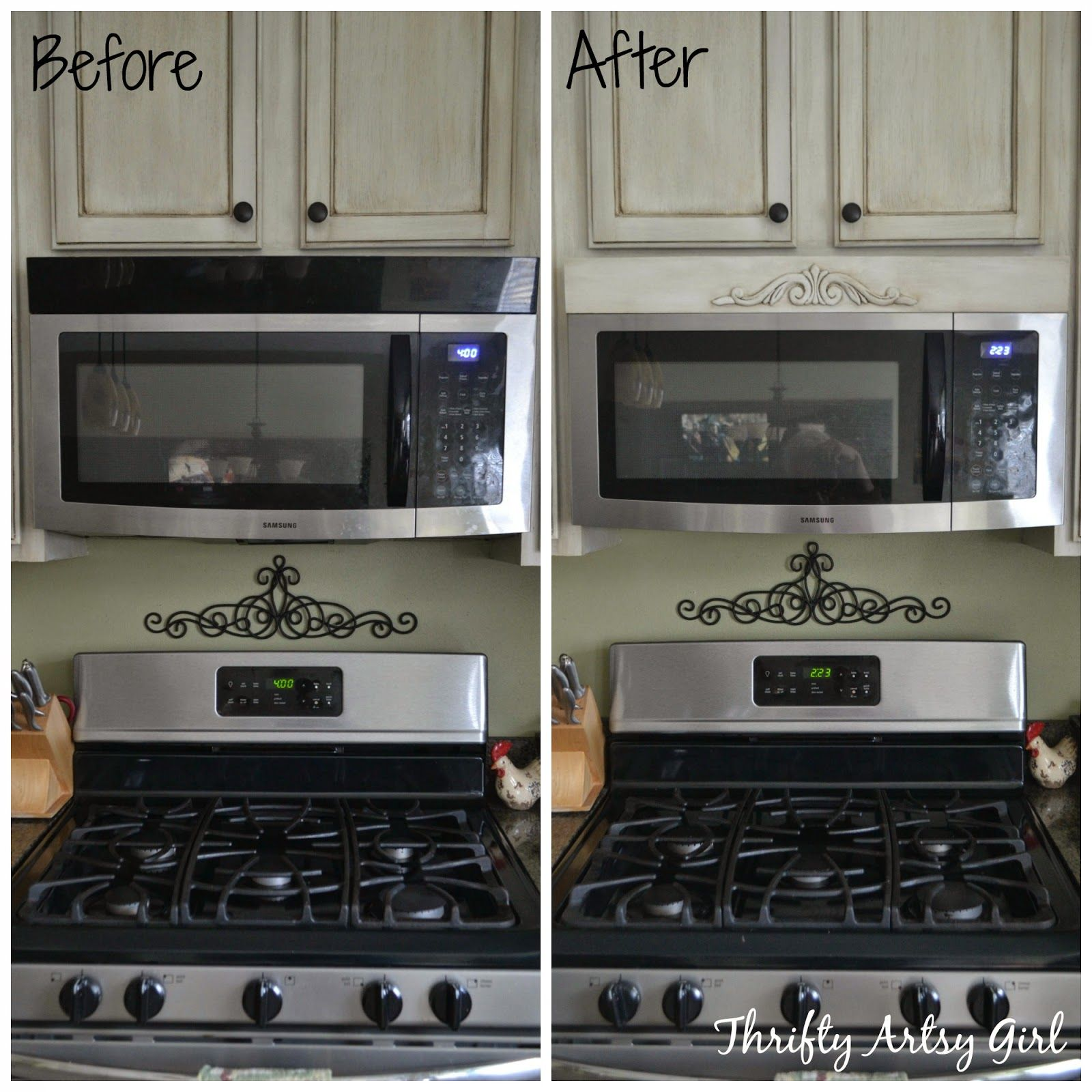 Diy Tuscan Above The Range Microwave Hood Vent Update Thrifty Artsy