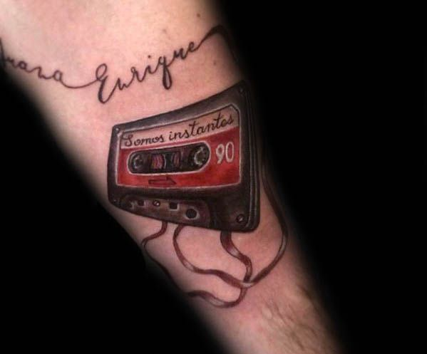 Red And Black Cassette Tape Male Forearm Tattoo Design Ideas ...