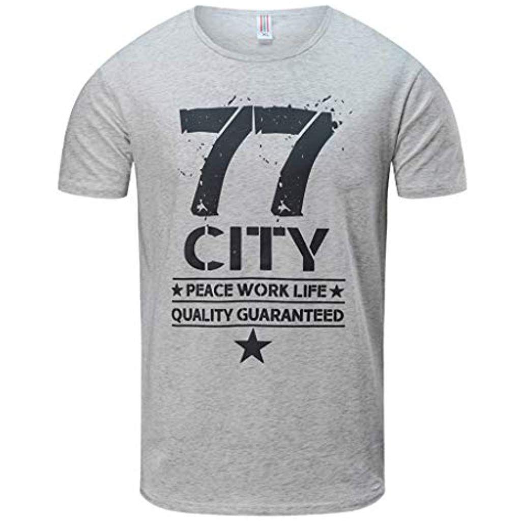 Holywin Mens Printing Tees T-Shirt Short Sleeve Top Blouse