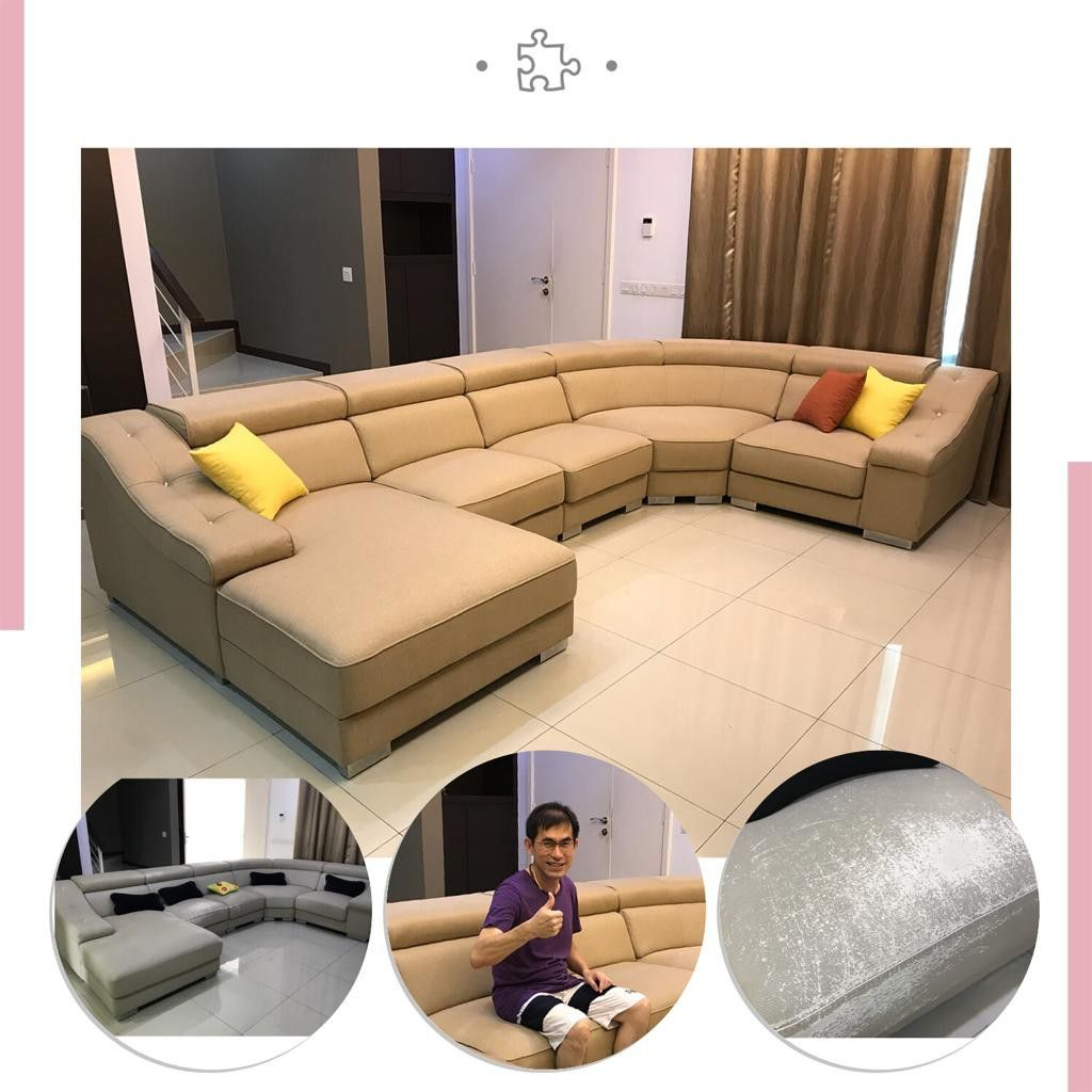 Sofa Upholstery Penang U Shape Sofa Refurbished And Transform With Material Fabric
