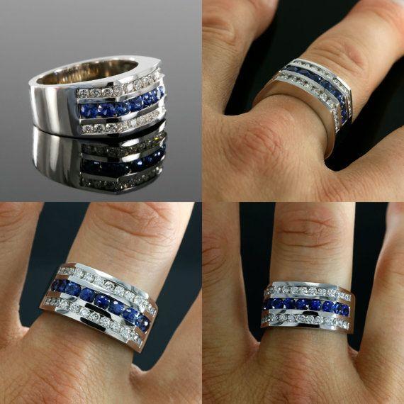 12mm Wide Diamond And Blue Sapphire Men S Wedding Band In Etsy Wedding Ring Diamond Band Sapphire Diamond Engagement Sapphire Engagement Ring Blue