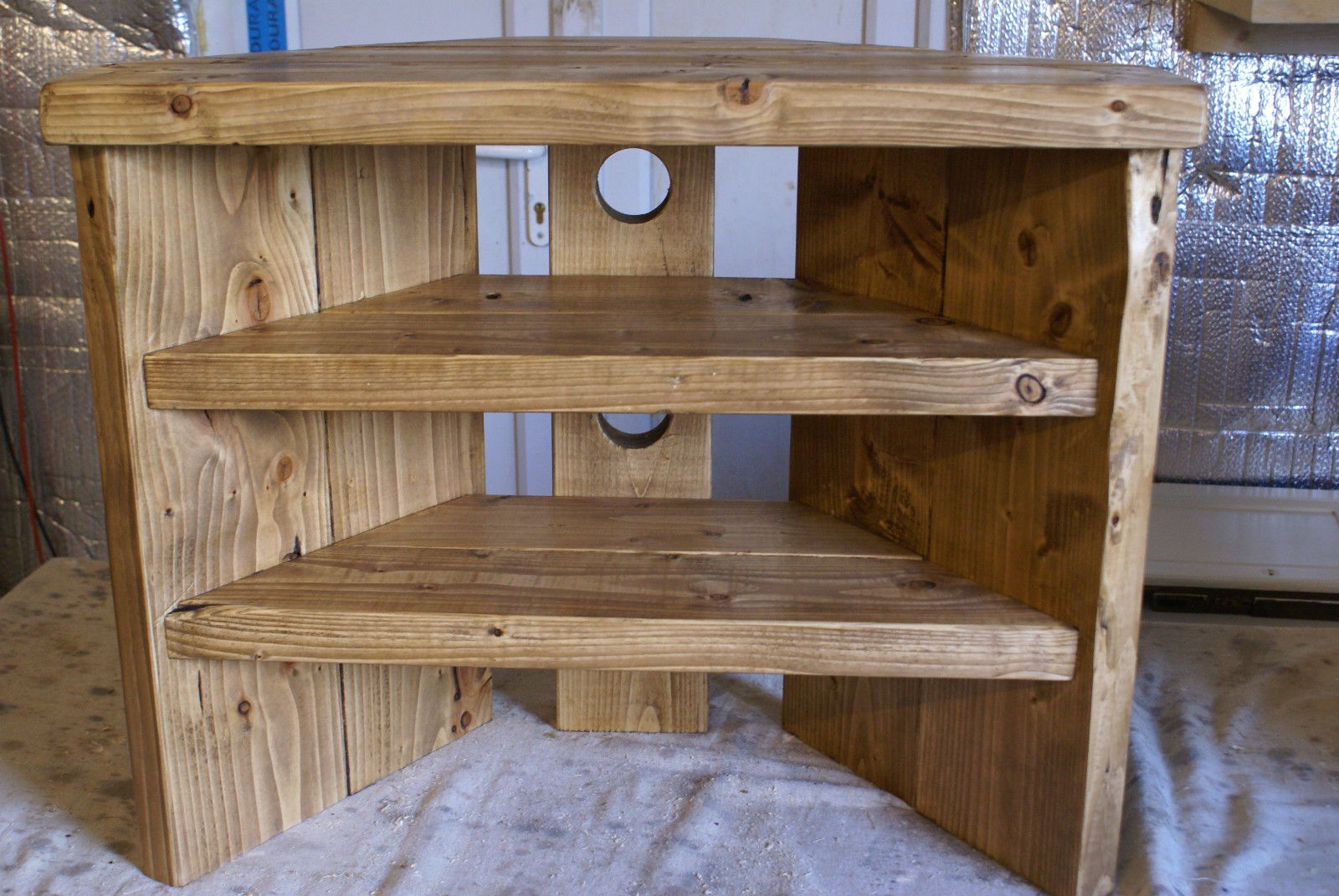 Details About Rustic Corner Tv Stand Solid Wood Unit Cabinet Plank Sleeper Oiled Waxed Corner Tv Stand Rustic Corner Tv Corner Tv Cabinets