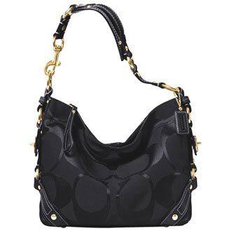 Coach Signature Carly Sac Shoulder Hobo Handbag - Coach 18792BLK ...