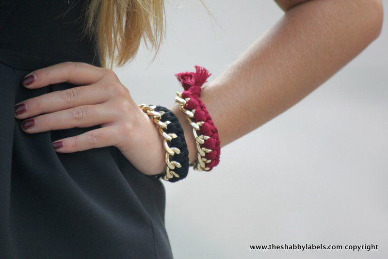 The Shabby Labels - Fashion Blog: Peplum top, leopard pants and super high heels  burgundy + black + chain + braided