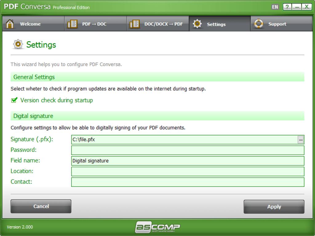 PDF Comversa Professional Edition General Setting