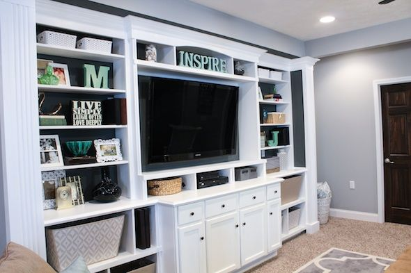 the basement built in entertainment center bookshelves - Built In Entertainment Center Design Ideas