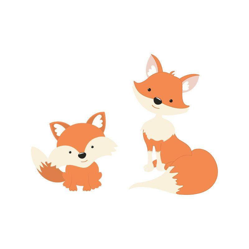 Fox Wall Decal Nursery Decor FOX mom and Baby Fox Wall ...