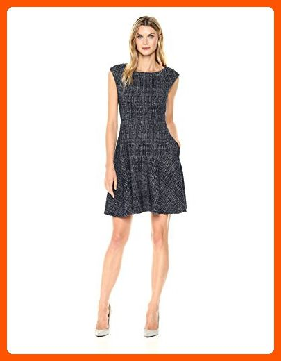 Eliza J Women's Tweed Fit and Flare Dress, Navy, 8 - All about women (*Amazon Partner-Link)