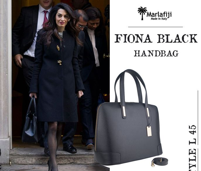 """AMAL CLOONEY KEPT HER STYLE CLASSIC WHEN VISITING 10 DOWNING ST.... check out our Fiona black Italian leather Saffiano bag perfect for 10 Downing St or other pressing business meetings..  Get the Look!!!  http://marlafiji.com/en/bags/handbag/fiona-classic-black-italian-leather-handbag-detail.html  www.marlafiji.com  """"FREE SHIPPING WITHIN AUSTRALIA""""!!  #marlafiji #Top Model #Italian leather handbags"""