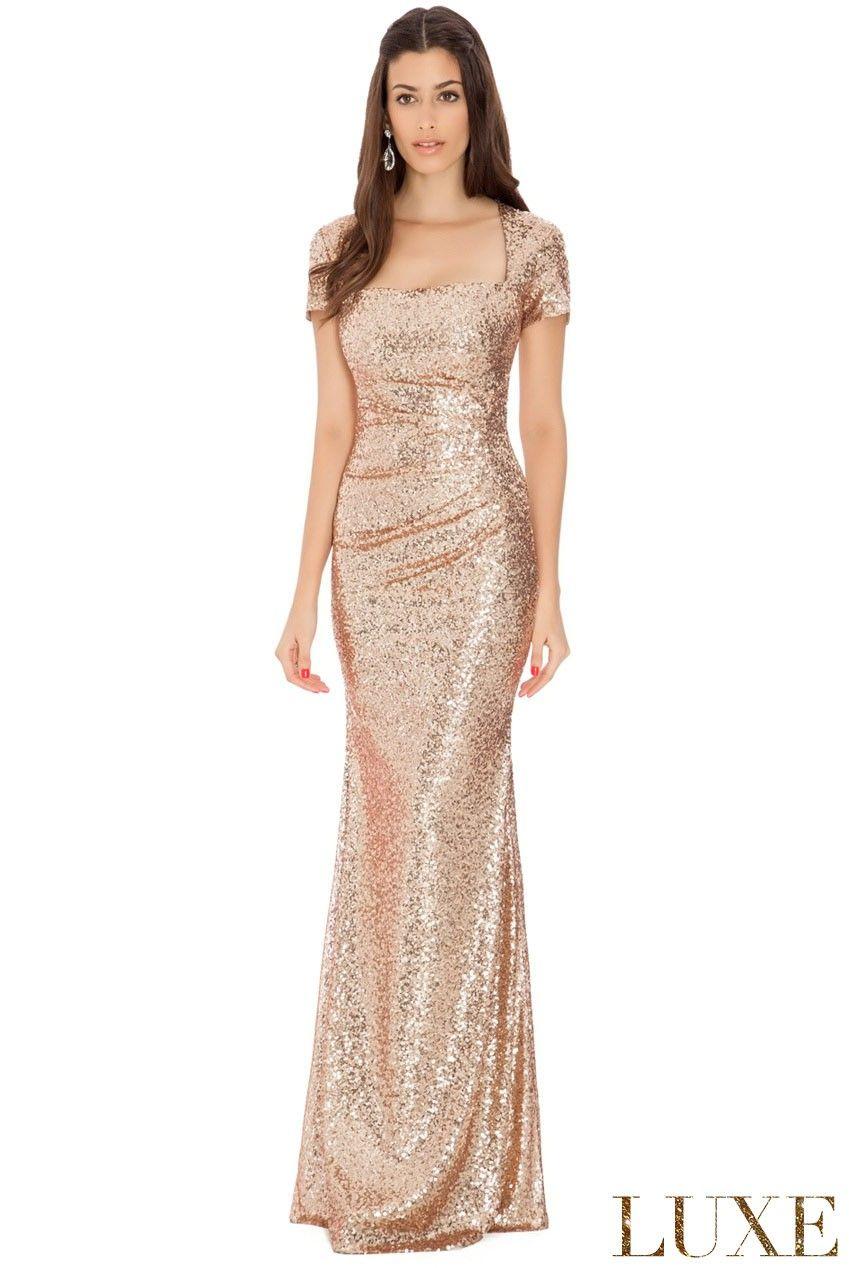 Sequin-Portrait-Neckline-Maxi-Dress-Champagne-Front-DR335 | Dreamy ...