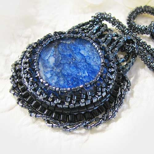 Bead Embroidered Agate Pendant Necklace Crystal Glass Blue Black  | ThaddeusRose - Jewelry on ArtFire