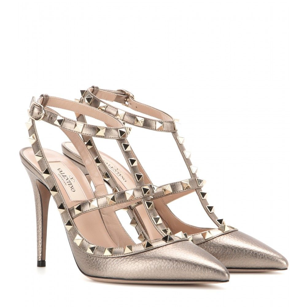 21c02bee223 Valentino - Rockstud metallic leather pumps - Coated in smooth bronze  metallic leather