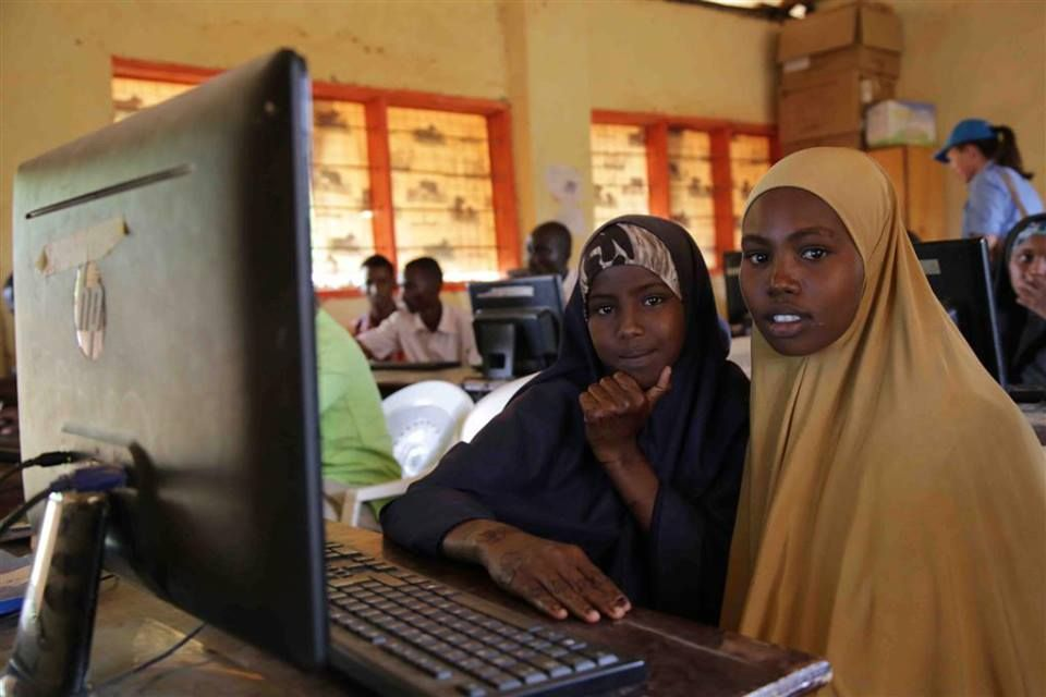 Somali refugees learning computer skills through a vocational