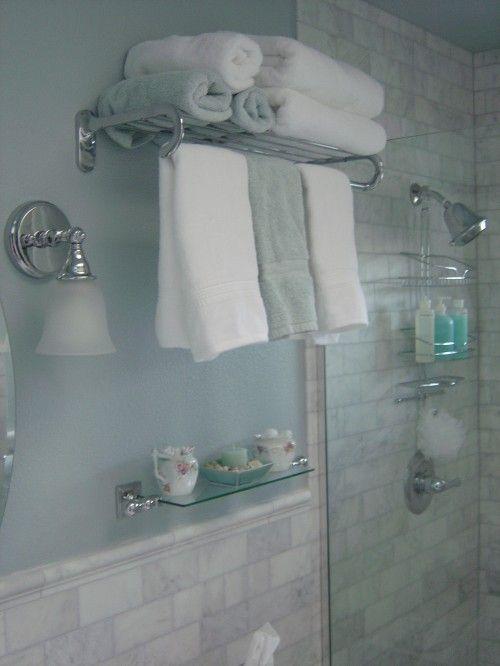 This Marble Tile In Shower Hotel Towels Towel Rack Bathroom Design
