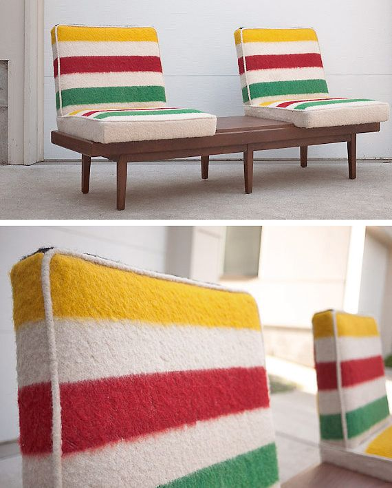 its a midcentury bench custom upholstered with an iconic