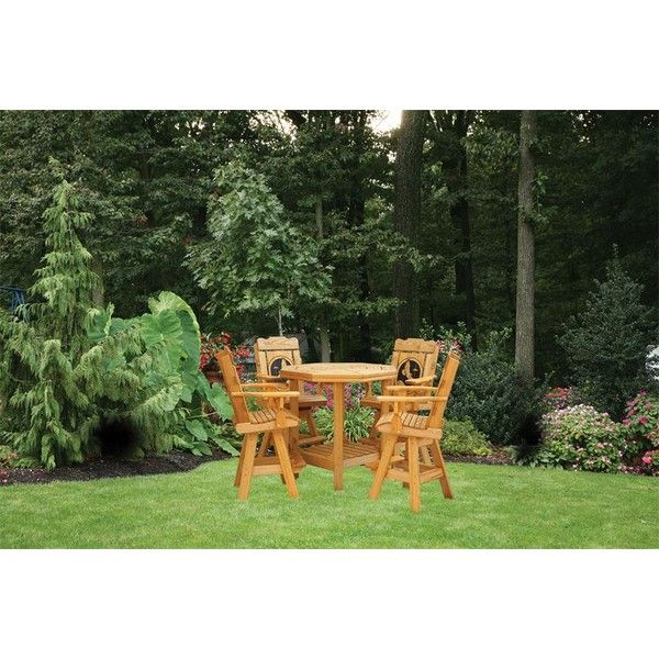 Amish Creative Classics Pine Wood Patio Set ($1,399) ❤ Liked On Polyvore  Featuring Home, Outdoors, Patio Furniture, Outdoor Patio Sets, Colored Bar  Stools, ...