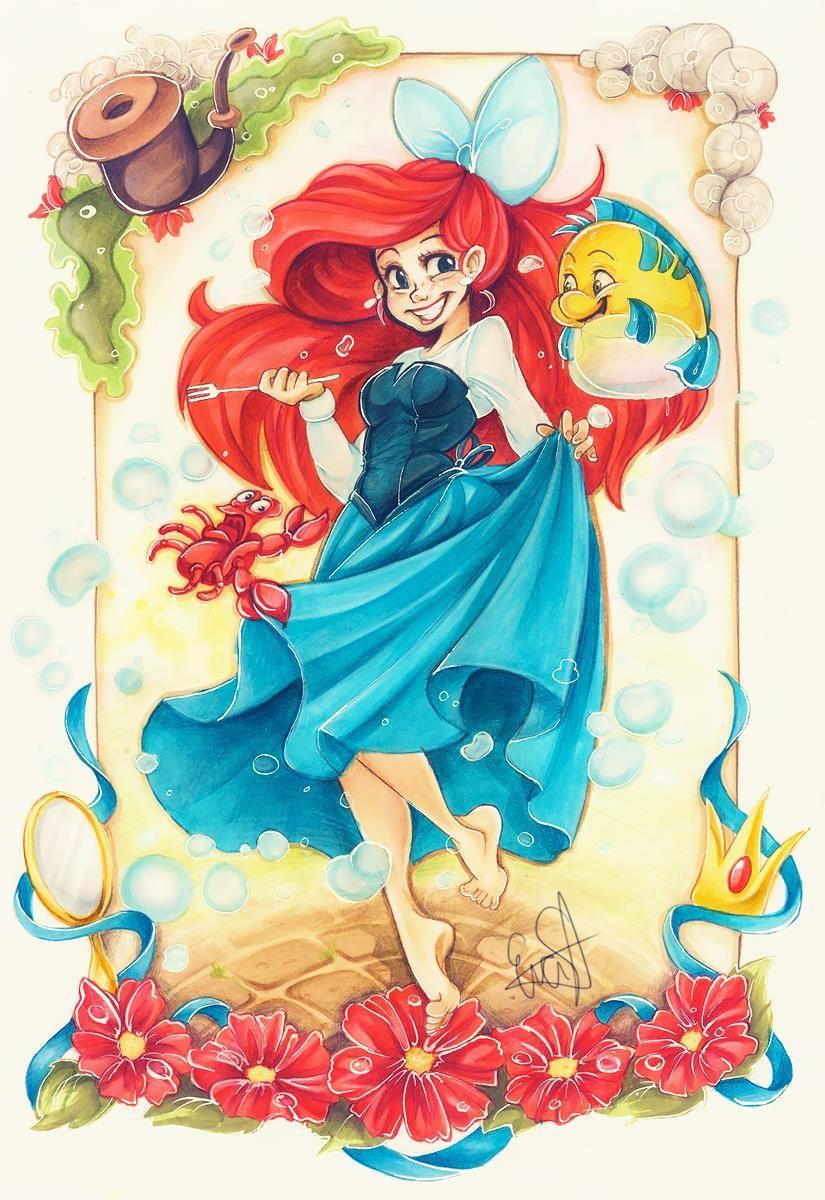 Resultado De Imagem Para Desenhos Da Ariel Coloridos Disney Art