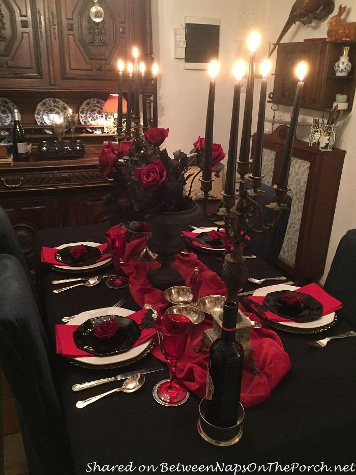 A Spooky but Elegant Halloween Table Setting with a Count Dracula Vampire Theme