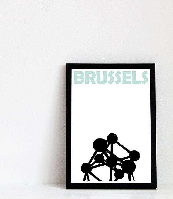 Impression de Bruxelles / / Bruxelles Art / ville Print / /