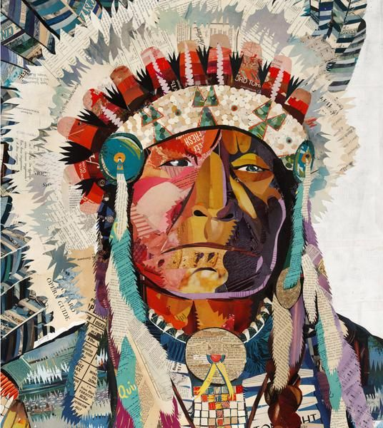 008 Large scale original paper collage depicting Native