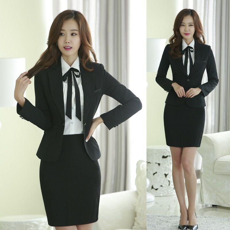 Cheap Otoño chaqueta Formal de mujer trajes con falda y Top establece señora  trajes del negocio 3ad8480c250f