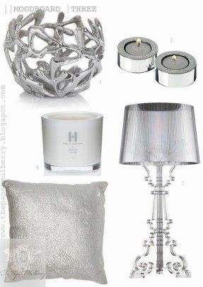 Superb Shimmering White Bedroom Accessories   Kelly Hoppen Perfumed Candles,  Metallic Silver Cushions, Kartell Bourgie