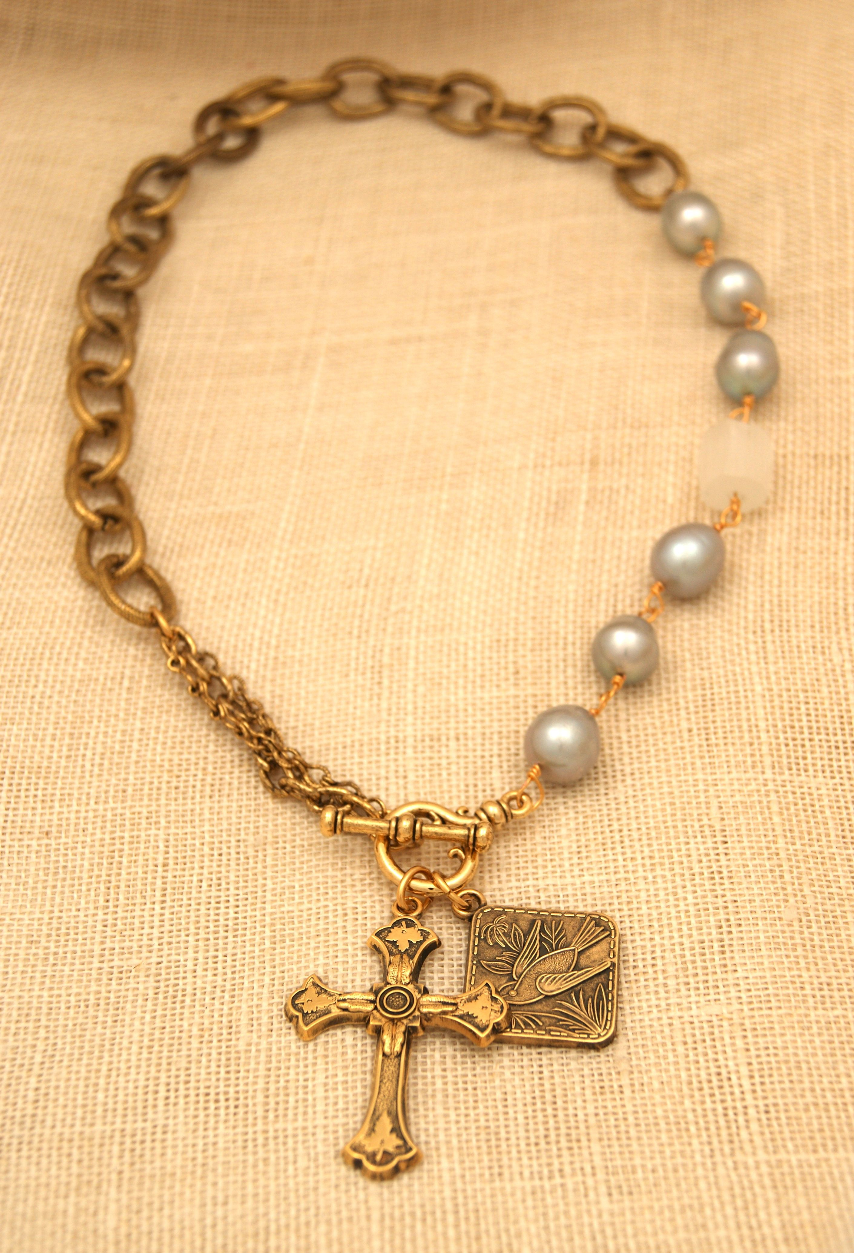 U Jessica Necklace with Gray Pearls Felder Cross fashion