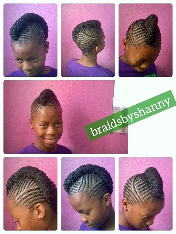 Natural hair braided without extension
