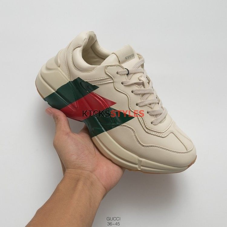 8a9b099416a Gucci Rhyton Web Print Leather Sneaker