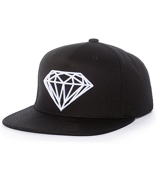 4deaea1f A Zumiez exclusive the Diamond Supply Co. Brilliant black and white  snapback hat features a