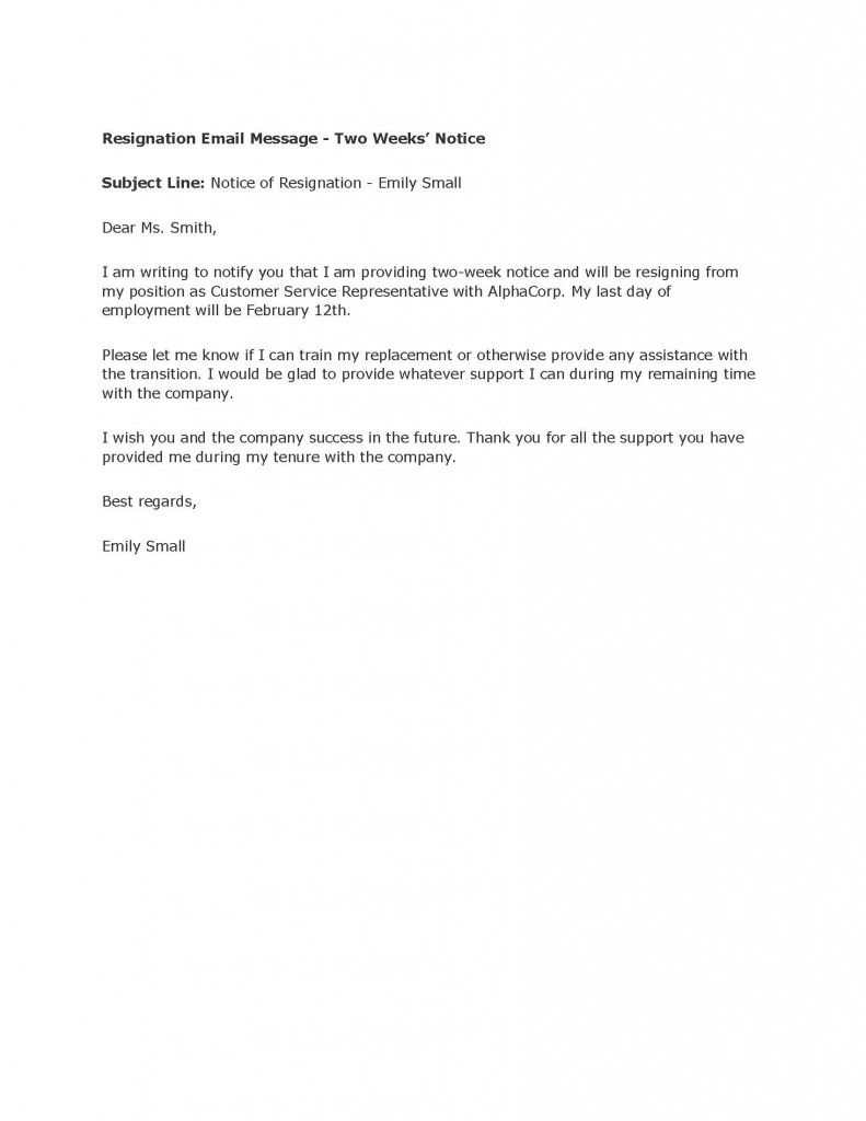 TwoWeek Resignation Letter Samples – Letter of Notice