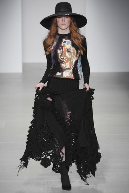 Sister by Sibling | Fall 2014 Ready-to-Wear Collection | Style.com | pixelated portrait (poss Marina Abramovic?) sweater, boho knit skirt