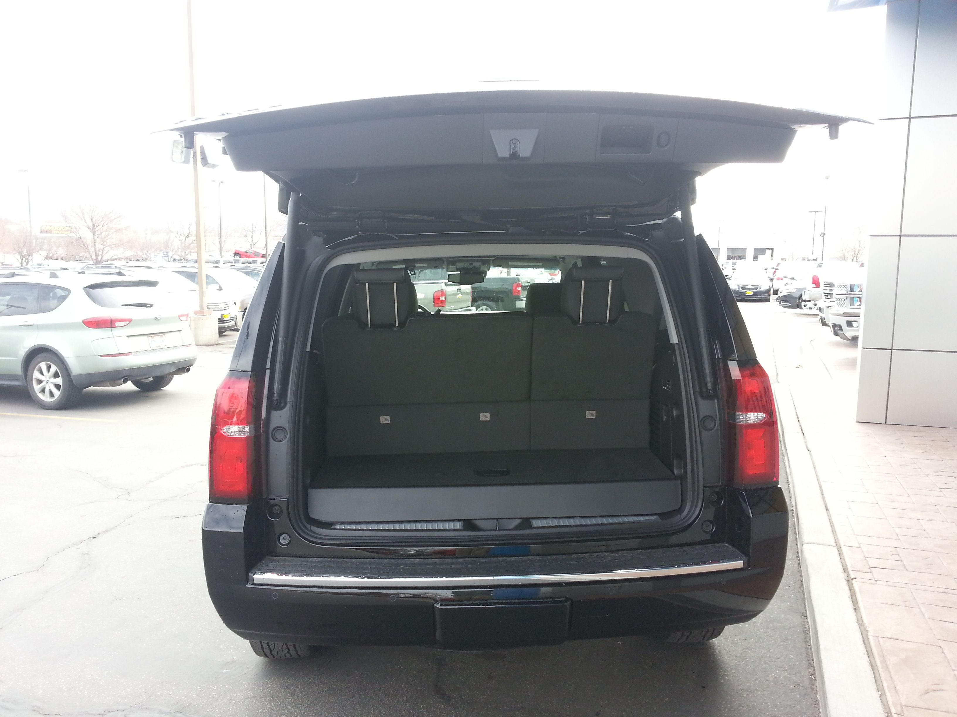Rear View With Tailgate Open On 2015 Chevy Tahoe The 2015