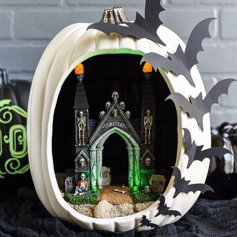 I\u0027m sharing this spooky graveyard pumpkin diorama on the blog! My - halloween michaels